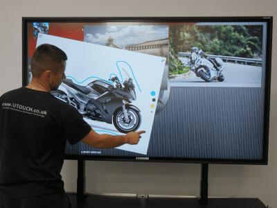 Monitor displaying bike designs